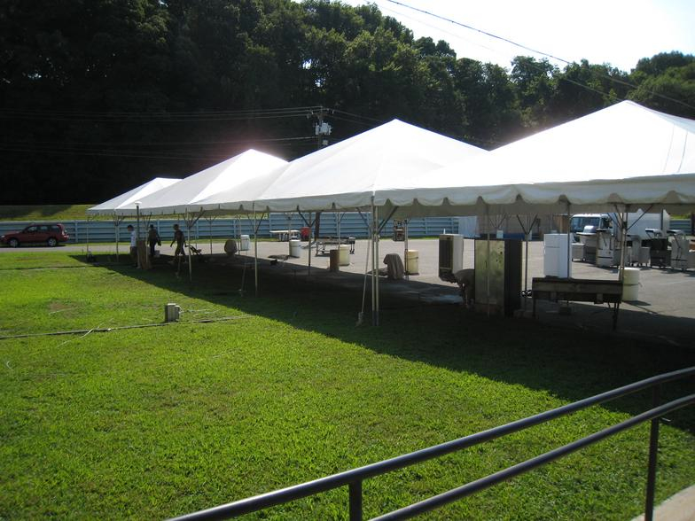 row of frame tents