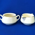 Ivory  W/Gold Band Creamer and Sugar Bowl