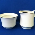 White W/Platinum Band Creamer and Sugar Bowl